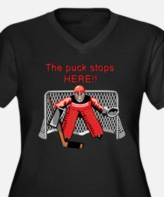 The puck stops Here!! Women's Plus Size V-Neck Dar