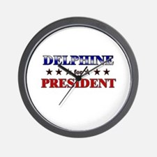 DELPHINE for president Wall Clock