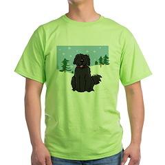 Newfie - Snow (Sq) - Green T-Shirt