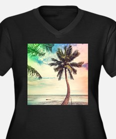 Palm Tree Women's Plus Size V-Neck Dark T-Shirt