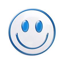 "Blue Chrome Smiley 3.5"" Button"