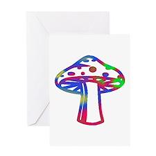 Rainbow Retro Shroomz Greeting Card