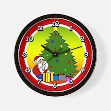 Santa with Tree Wall Clock