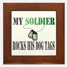 my soldier rocks his dog tags wife Framed Tile