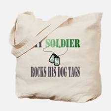 my soldier rocks his dog tags wife Tote Bag