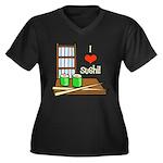 I Love Sushi Women's Plus Size V-Neck Dark T-Shirt