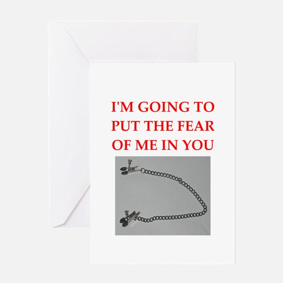 nipple clamps joke Greeting Cards