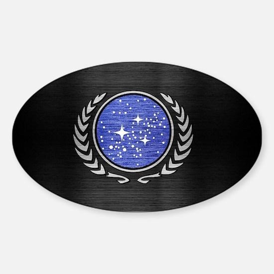STARTREK UFP METAL 1 Sticker (Oval)