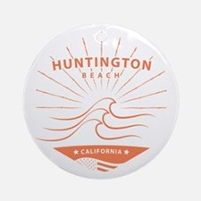 Huntington Beach, California - Surf Round Ornament