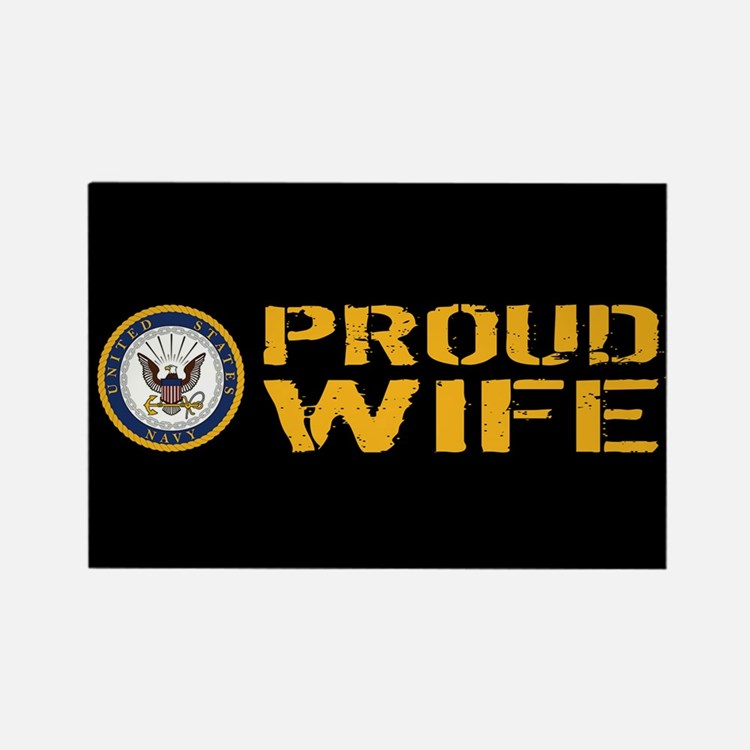 U.S. Navy: Proud Wife (Black) Rectangle Magnet