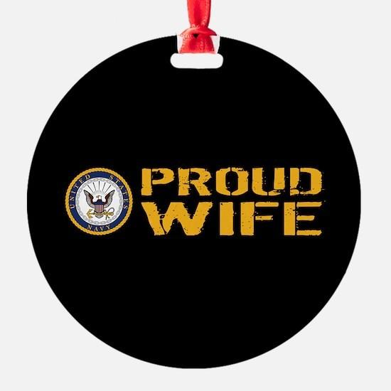 U.S. Navy: Proud Wife (Black) Ornament