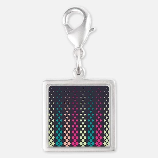Geometric Pattern Silver Square Charm