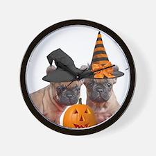 Halloween French Bulldogs Wall Clock