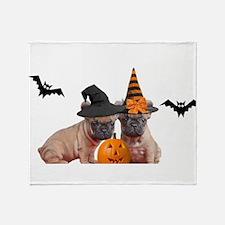 Halloween French Bulldogs Throw Blanket