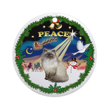 Peace Wreath & Himalayan 1 cat Ornament (Round)