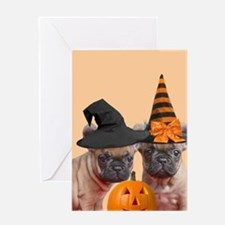 Halloween French Bulldogs Greeting Cards