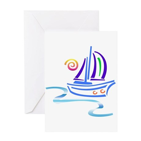 Groovy Sail Boat Greeting Card