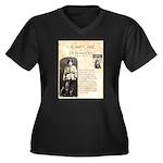 Calimity Jane Women's Plus Size V-Neck Dark T-Shir
