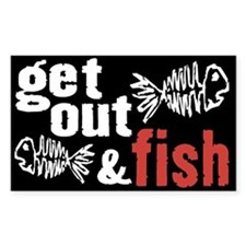 Get Out & Fish Rectangle Decal