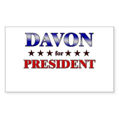 DAVON for president Rectangle Sticker