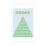 Peace Christmas Tree Rectangle Sticker