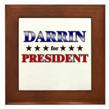 DARRIN for president Framed Tile