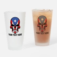 Puerto Rican Flag Skull (Custom) Drinking Glass
