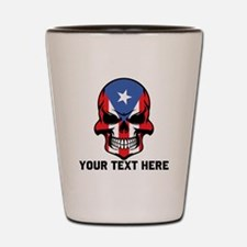 Puerto Rican Flag Skull (Custom) Shot Glass