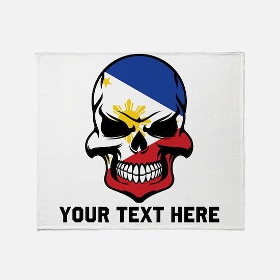 Filipino Flag Skull (Custom) Throw Blanket