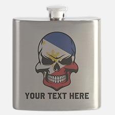 Filipino Flag Skull (Custom) Flask