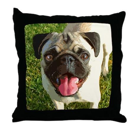 Happy Pug Throw Pillow