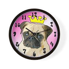 Pug Princess Wall Clock