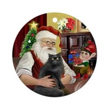 Santa's Persian cat (blk) Ornament (Round)