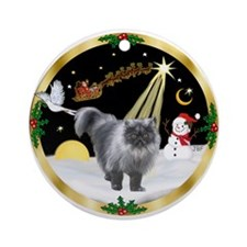 Night Flight & Persian cat (blk) Ornament (Round)