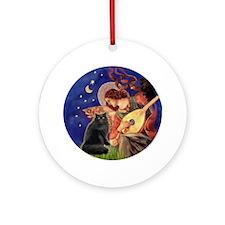 Mandolin Angel &Persian cat (blk) Ornament (Round)