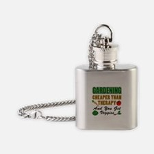 Gardening Cheaper Than Therapy Flask Necklace