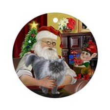 Santa's Silver Persian cat (gry) Ornament (Round)