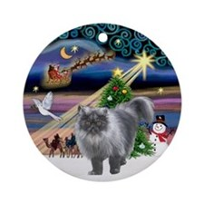 Xmas Magic & Persian cat (gry) Ornament (Round)