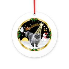 Night Flight & Persian cat (gry) Ornament (Round)