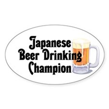 Japanese Beer Drinking Champ Oval Decal
