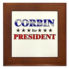 CORBIN for president Framed Tile