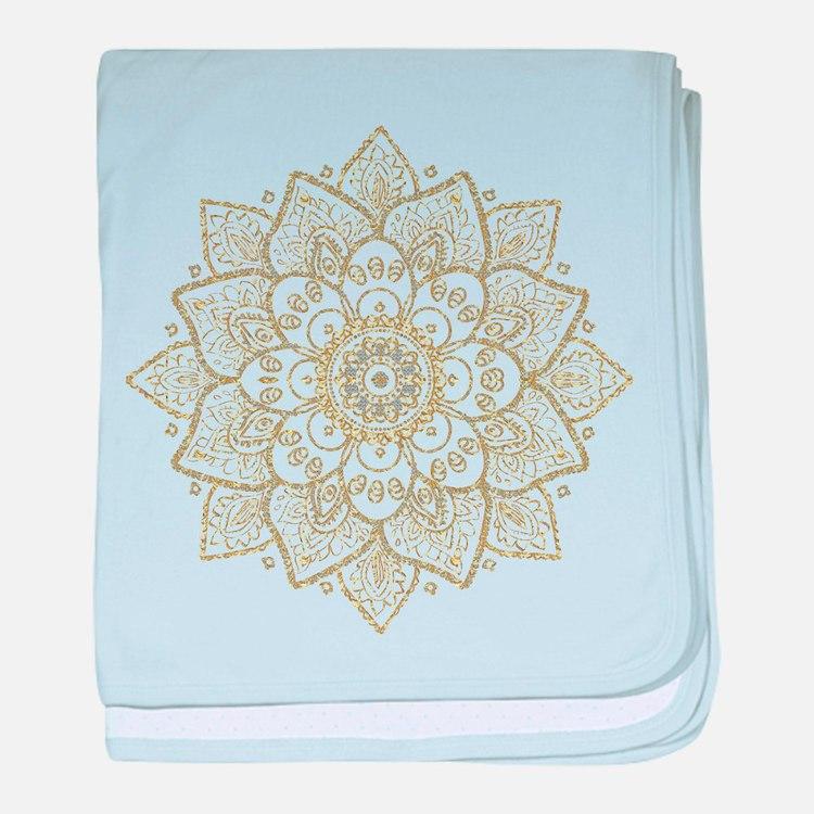 Gold Glitter Floral Mandala Design baby blanket