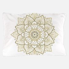 Gold Glitter Floral Mandala Design Pillow Case