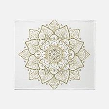 Gold Glitter Floral Mandala Design Throw Blanket
