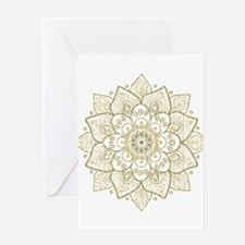 Gold Glitter Floral Mandala Design Greeting Cards