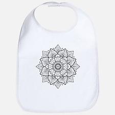 Black Ornate Floral Mandala geometric Design Bib