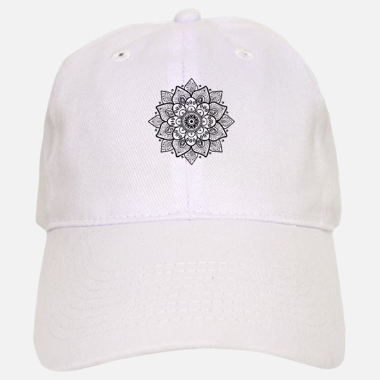 Black Ornate Floral Mandala geometric Design Baseball Baseball Cap