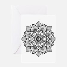 Black Ornate Floral Mandala geometr Greeting Cards