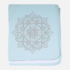 White Glitter Floral Mandala baby blanket