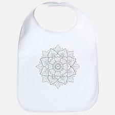 White Glitter Floral Mandala Bib